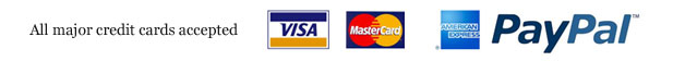 All major credit cards accepted - VISA - Mastercard - American Express - PayPal