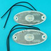 LED 12v-24v WHITE Oval Marker Lamps - Pack of 2