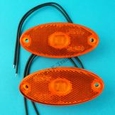 LED 12v-24v AMBER Oval Marker Lamps - Pack of 2